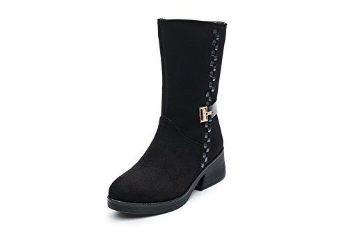 VogueZone009 Damen Mitte-Spitze Ziehen auf Mattglasbirne Mittler Absatz Rund Zehe Stiefel, Pink, 42