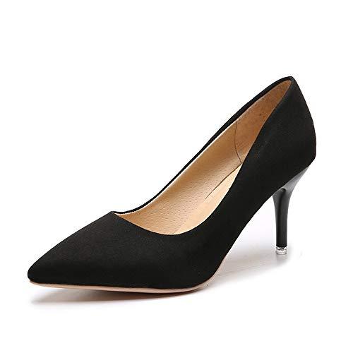 Scarpe da Donna Nere di Grandi Dimensioni Scarpe da Tennis da Donna con Tacco Alto Ricamate e Sandali con Tacco Alto, Nero, 34