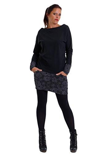 3Elfen Sweatshirt Kleid Pulloverkleid Damen Langarmkleid mit Minirock Shirtkleid Baumwolle schwarz...