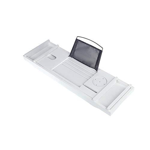XSJZ Mensola per Vasca, Telescopico Antiscivolo in bambù Bianco Impermeabile da Bagno Cellulare Tablet Lettura Cornice