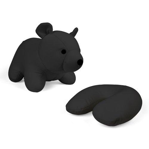 Zip & Flip Kissen Bär schwarz - Kuscheltier und Nackenhörnchen -