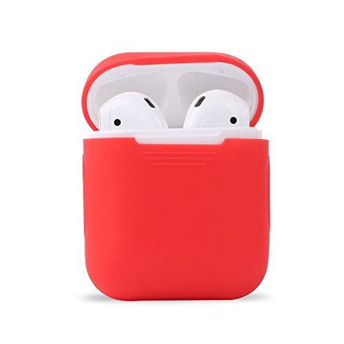 Ambertown Silicone Shock Proof Protective Case Sleeve Skin Cover with a Box for AirPods Air Pods Wireless Headphone Charging Box (Hot Red)