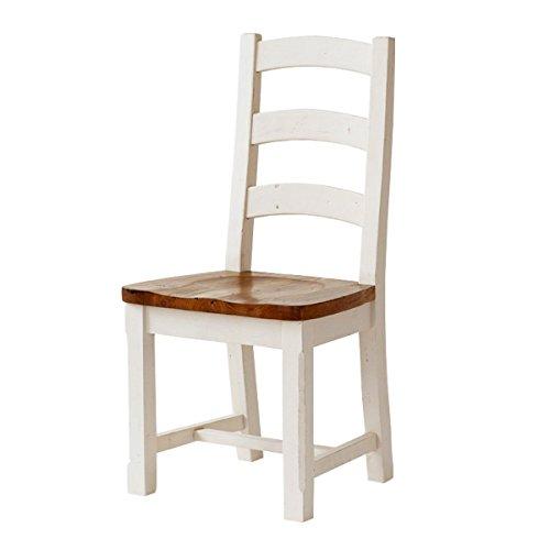 Stuhl Bodde (2er-Set) Esszimmerstuhl in Kiefer Massivholz Weiß / Honig