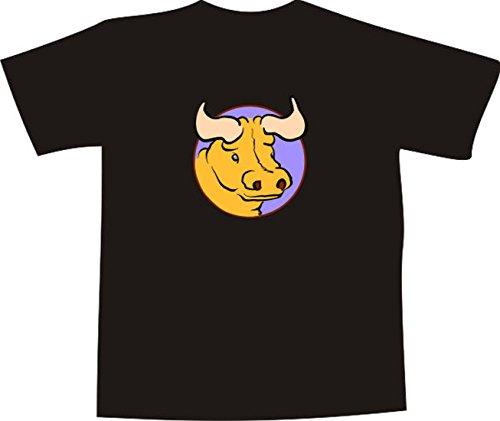 T-Shirt E652 Schönes T-Shirt mit farbigem Brustaufdruck - Logo / Grafik - Comic Design - wütender dicker Stier Weiß