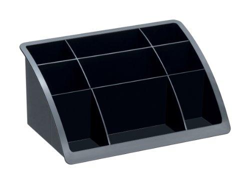 Rotho 1113308000 Schreibgerätehalter Büroboy Timeless, aus hochwertigem Kunststoff (PS), schwarzer...