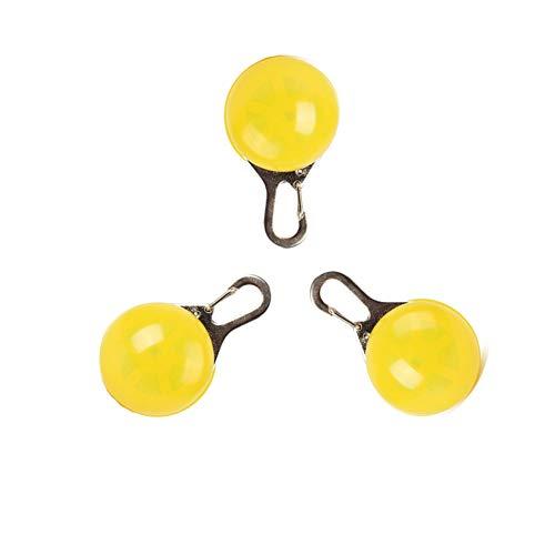 Bello LunaHundehalsband LED-Licht, 3Pcs Clip-On Pet Sicherheitslicht für Katzen und Hunde Bergsteigen Reiten Wasser resistent leuchtende kreisförmige Anhänger Kragen - gelb