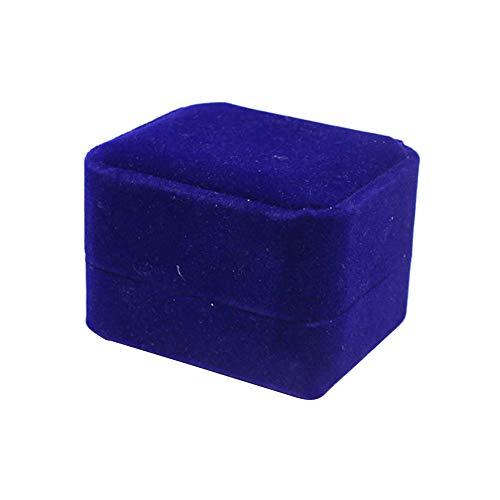 Samt-Ring-Kasten-Klassische Hochzeits-Ring-Träger Box Doppel-Ring-Schmuckohrring Pins Speicher-Geschenk-Kasten für Hochzeit Vorschlag Geburtstag Dark Blue 1PC