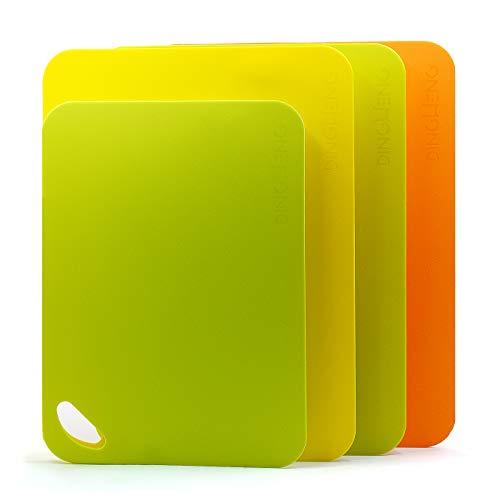 DINGHENG Schneidebrett Schneidebretter Set Antibakteriell Cutting Board 4-teilig, Schneidbrett Kunstoff rutschfest Flexibel,hochwertigem umweltfreundlichem Material Schneidbretter Küchenbrett (2 mm)