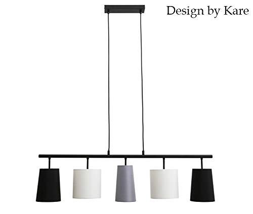 Briloner Leuchten Lampadario a Sospensione da soffitto a 5 luci – Design by Kare con paralumi in Tessuto – Compatibile con lampadine E14 – Nero, Bianc