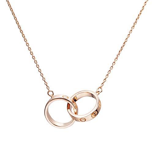 JUZIWEI Halskette, Damen 925 Sterling Silber Doppelring-Ringanhänger mit Kette, Freundschaft Muttertag Geburtstag Geschenke mit Box