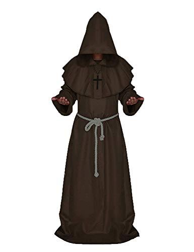 Hooded Brown Kostüm Robe - Mönch Robe Prister Gewand - Mönchskutte Mittelalter Hooded Renaissance Priester Robe Halloween Cosplay (Brown, L)