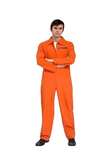 Gefangener Kostüm Sträfling Jail Prisonbreak Overall orange Herren (Gefangene Der Kostüme)