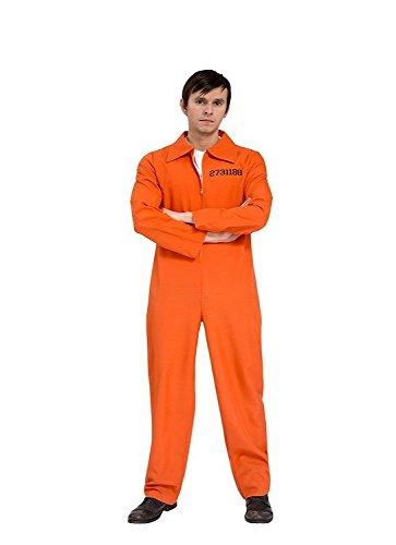 ostüm Sträfling Jail Prisonbreak Overall orange Herren Häftlingkostüm (Orange Overall Kostüm)