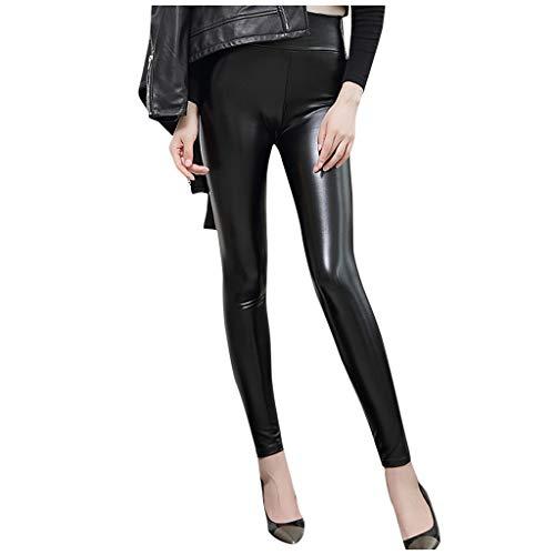 AIORNIY Skinny Jeans Lederhose Damen,Push Up Skinny Leggings PU,Mode Slim Fit Stretch Leggins Hose Hüfthose Hosen Schwarze XXXXXL