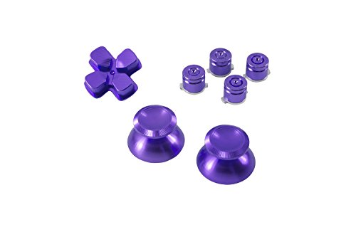 GAMINGER Patronen Button Analogsticks D-Pad Steuerkreuz aus Aluminium für Sony PlayStation 4 Dualshock 4 Controller Set Bundle Munition Bullets Tasten Kappen Zubehör Patrone Mod Custom PS4 Thumbsticks Analog Sticks Knöpfe Tuning - PURPLE