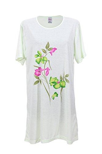 Damen Nachthemd Schlafanzug Pyjama Sleepshirt Nachtwäsche Baumwolle Grün