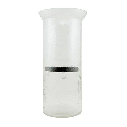Stonebriar Hurricane Kerzenhalter aus Glas, mit rustikalem Metallplatte, groß Large farblos