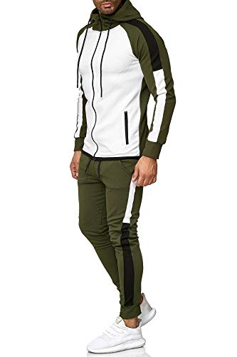 OneRedox | Herren Trainingsanzug | Jogginganzug | Sportanzug | Jogging Anzug | Hoodie-Sporthose | Jogging-Anzug | Trainings-Anzug | Jogging-Hose | Modell 1262 Oliv