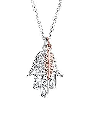 Elli Halskette Bi-Color Hamsa Hand Feder Silber rosé vergoldet 0109390916