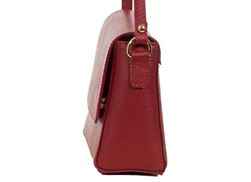 Sac bandoulière élégant - fabriqué en Italie - cuir grené - petit (19x17x8 cm) Rot
