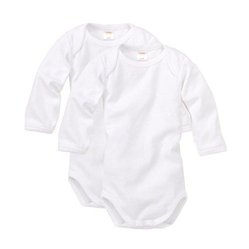 wellyou, 2er Set Kinder Baby-Body Langarm-Body, klassisch weiß, für Jungen und Mädchen, Feinripp 100% Baumwolle, Größe 50-134