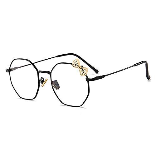 Sonnenbrillen Mode Flache Blaue Brillenglaslinse weibliche Brillenfassungen Männer und Frauen LUE Shading Glasses für Sutdents/Büroangestellter (Farbe : Schwarz)