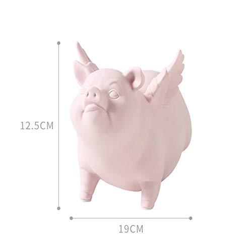 Foanwm Cerámica voladora Figuras de Cerdo Adornos Artesanías de Escritorio Estatuas Decoración del hogar