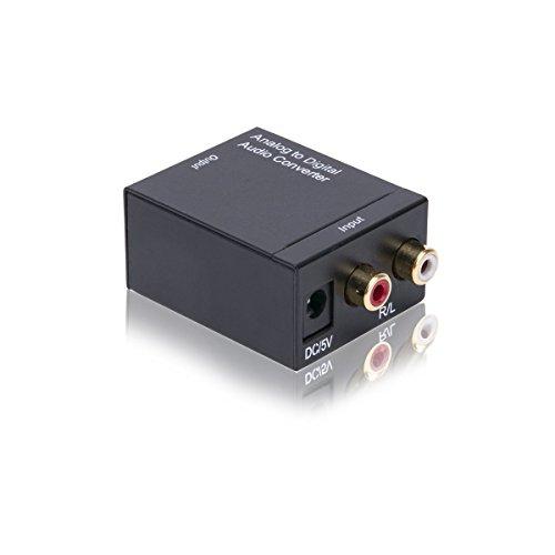 CNHON Audio Konverter Wandler Analog zu Digital Toslink und Koaxial Wandler Cinch auf Optisch Audiowandler mit Netzteil (Analog zu Digital)