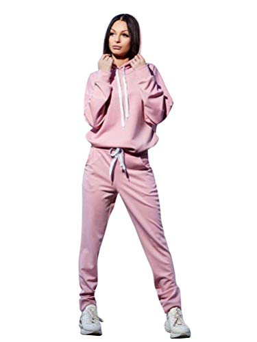 Minetom donna 2 pezzi tuta da ginnastica sportiva tuta jogging yoga manica lunga pullover felpa con cappuccio top e pantaloni autunno inverno b rosa it 40