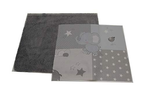 Pinidi / DIY Nähset ganz einfaches Patchwork Kissen inkl. Anleitung/Ökotex 100 /ca. 40cmx40cm / Babymotive blau grau/Plüsch-Fleece grau -
