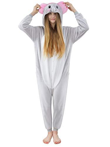 Unbekannt Damen Fleece Einteiler Nachtwäsche Pyjama Kostüm Kapuze Elefant grau Gr. S (Disney Charakter Kostüm Für Erwachsene)