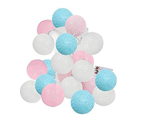 lishistudio LED-Lichterkette mit 20 LEDs, 2,5 m, Rosa/Blau/Weiß, für Kinderzimmer, für Baby-Partys, Hochzeit, Dekoration Pastellfarben