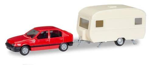 Herpa 13420 - Minikit Opel Kadett EGLS mit Wohnwagen farbig