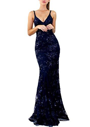 Gzhouse donna spaghetti strap deep v neck elegante senza spalline abiti da sera laterali sexy bodycon maxi sparkly paillettes abiti da sposa (large, blu scuro)