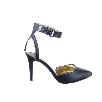 Sopily - Chaussure Mode Escarpin Decolleté Stiletto Cheville femmes Métallique Talon aiguille haut talon 10 CM - UK 8 - Noir - WL-HRM-35 T 41