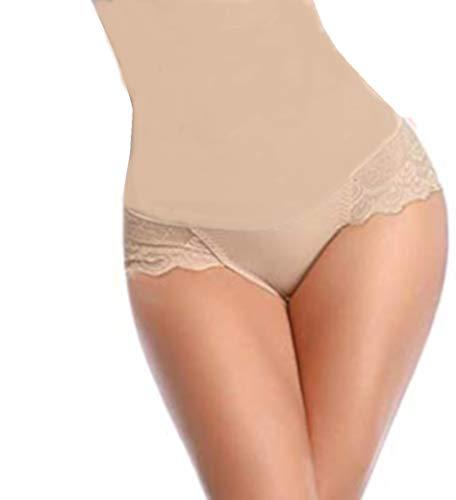 Diemme Unterhosen für Damen mit hoher Taille - Frontplatte für Bauch flach - Einsatz aus Spitze und Glutei für einen sexy Transparenz, Weiß Medium-Large