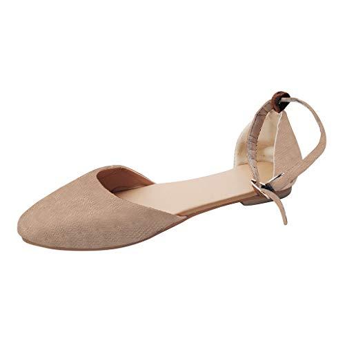 YWLINK Retro Damen Sommer Flache Schuhe Pointed Toe Atmungsaktiv Bequem Pump Sandalen Ankle Schnalle(Khaki,EU 35)