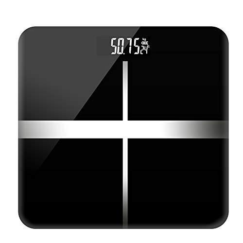Hochpräzise elektronische Waage mit Sicherheitsglas, abgerundete Ecken, großer LCD-Bildschirm für Familien, Badezimmer-black