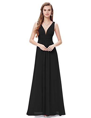 Ever Pretty Damen V-Ausschnitt Lange Chiffon Abendkleider Festkleider 36 Schwarz
