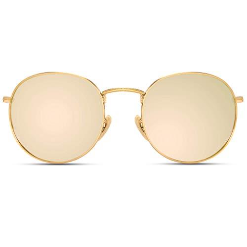WearMe Pro - Polarisierende Reflektierende Trendige Sonnenbrille Runde Gläser