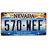 Cartel de chapa Placa metal tin sign retro nostálgico metalicas The Silver State matrícula del coche Vegas