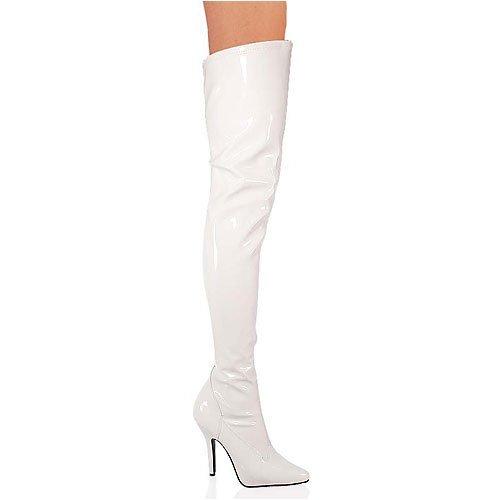 PleaserUSA High Heels-Overkneestiefel Seduce-3000 Lack weiss