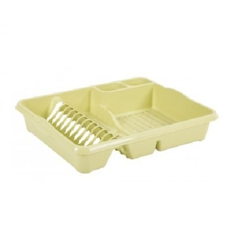 Wham High Grade Plastic Dish Drainer Plate and Cutlery Rack Tidy Holder Organizer/Organiser (Large, Soft Lime)