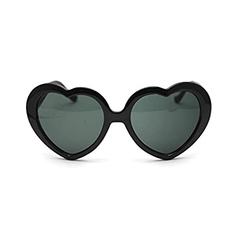 Lsv-8 Fashion Cute Oversized Heart-Shaped Plastic Frame Retro Sunglasses Eyeglasses(Black)