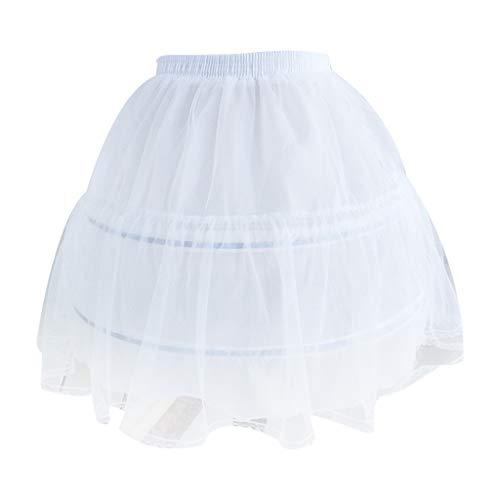 Lamdoo Frauen Braut Single Layer Chiffon Lolita Kurzer Petticoat Tutu Rock 2 Stahlring Hoop Floral Lace Trim Princess Bustle Hochzeit Weißer Unterrock -