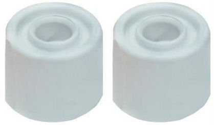 35 Twin Pack (White Rubber 35mm Door Stops Twin Pack + Screws by Dale Hardware)