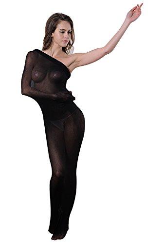 Mangotree Transparente Ganzkörper Strumpfhosen Grid Dessous Masche Body Strumpfbeutel Bodystockings Stocking Tasche - Unisex (Schwarz) (Undurchsichtige Nylon Strümpfe)