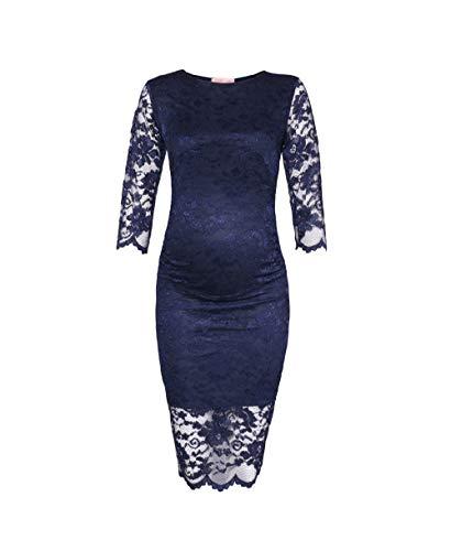 KRISP Kurzes Elegantes Schwangerschaftskleid mit Spitze (Marineblau, Gr.S) (9082-NVY-S)