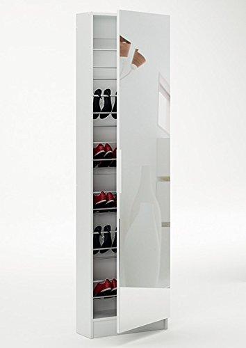 Schuhschrank 12 Paar Schuhe weiß 1 Tür H 181 cm B 50 cm Spiegelschrank Schuhablage Garderobenschrank Diele Schuhregal