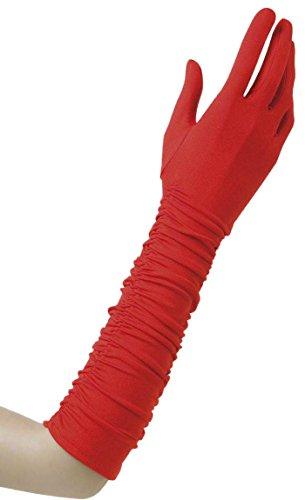 Handschuhe Lycra Satin Lange Schwarze (Plisse Lycra Red Lycra Satin & Sequin Gloves for Fancy Dress Costumes)